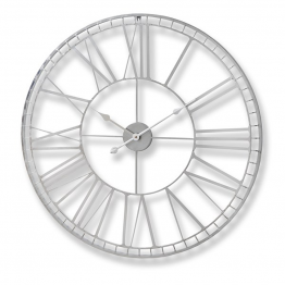 Large Silver Round Open Wall Clock