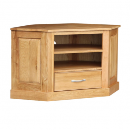 Oak Occassional Corner Video - 1 Drawer High
