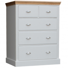 Special Chest of Drawers with fluted sides and Oak Top