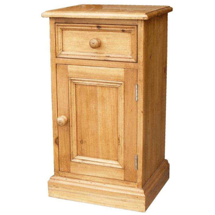 Antique Pine Bedside Cabinet RH Door - Antique Pine Bedside Cabinet (1 Drawer) RH Door