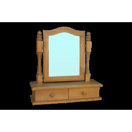 Pine Dressing Mirror on Drawer